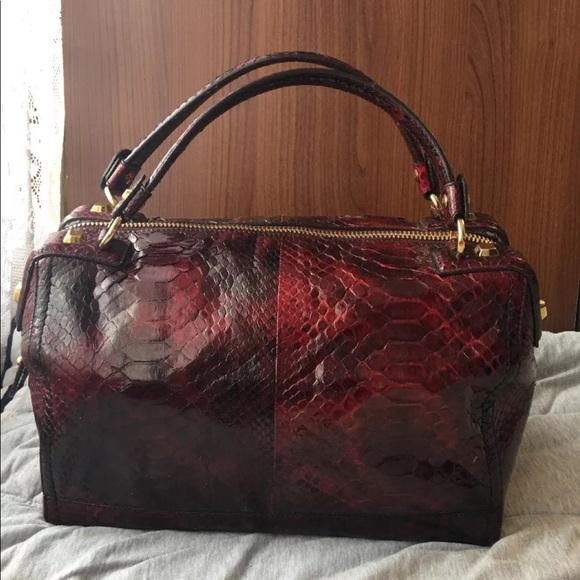 Salvatore Ferragamo Burgundy Red Snakeskin Bag NEW e59a357c3601d