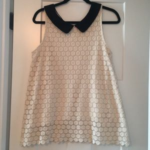 EUC Anthropologie Collared Lace Top, sz M
