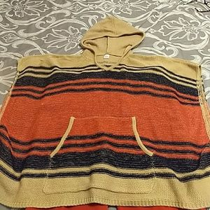 Sweaters - Hooded poncho