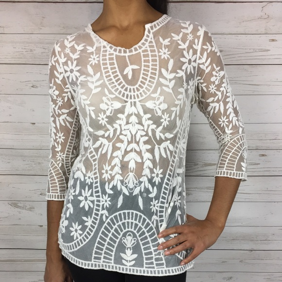 df46915c10287c Roz & Ali Tops | Roz Ali Sheer Embroidered Floral Lace Blouse | Poshmark