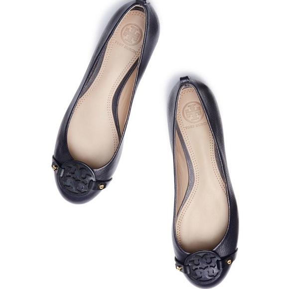 2098379dd Tory Burch Mini Miller Flats Navy Size 6.5 New!