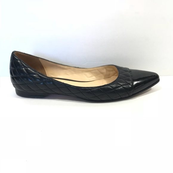 0b21256bb6c Cole Haan Shoes - Cole Haan Black Quilted Pointy Toe Flats Sz 7.5