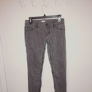 Black and White Striped Skinny Jeans