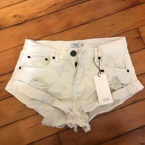 Tobi white cutoff shorts