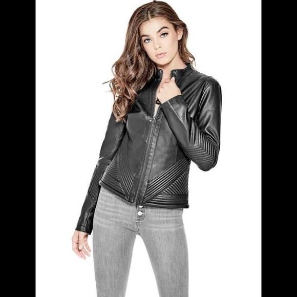 7ef5daf8 Guess Jackets & Coats | Womens Dehlia Fauxleather Jacket Jet Black ...