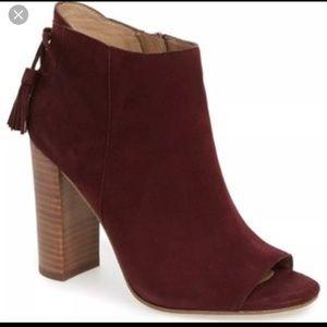 Halogen warin open toe boot burgundy suede
