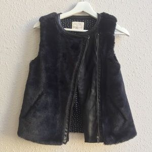 ZARA Girls Faux Fur Leather Asymmetrical Zip Vest