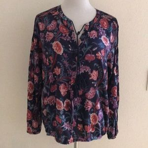 Lucky Brand Boho Peasant Floral Print Blouse