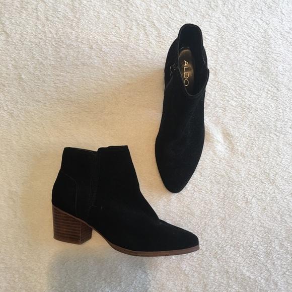 Aldo Suede Ankle Boots Wooden Heel