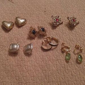 Jewelry - Bundle 6 Pr Clip Earrings Gold Tone