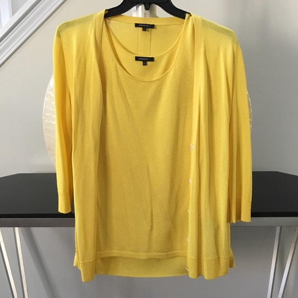 Lafayette 148 New York Sweaters Yellow Cardigan With Matching