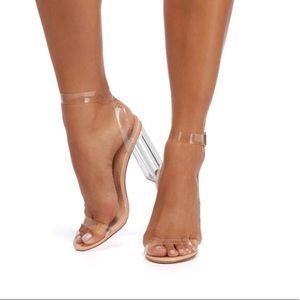 Rose Gold Clear Perspex Block Heels