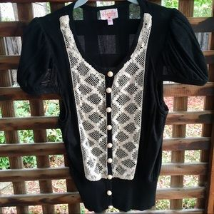 Plenty by Tracy Reese black puff sleeve/lace top