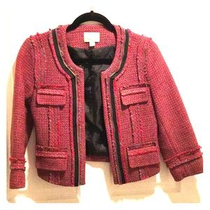 Red and grey woven wool jacket
