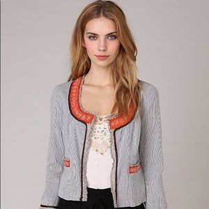 Free People My Fair Lady Embellished Open Jacket