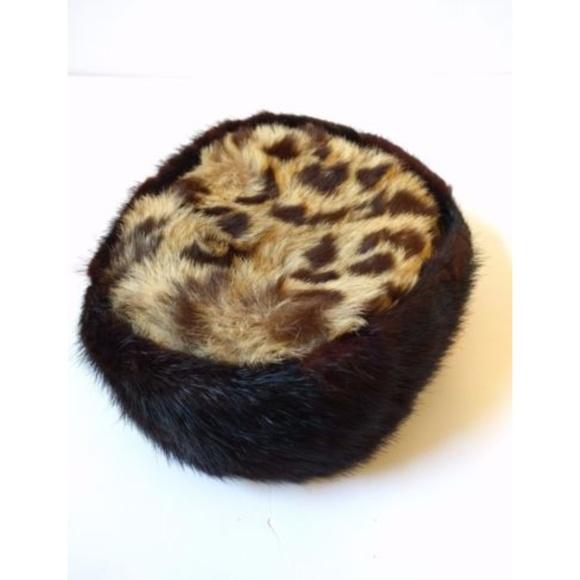4b80390cb Vtg 1950s Mink Fur Pillbox Hat Leopard Print
