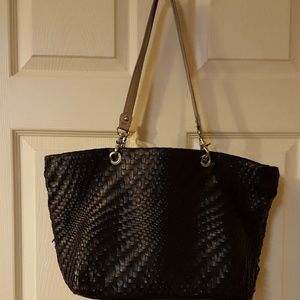 ColdWater Creek Leather Woven Tote