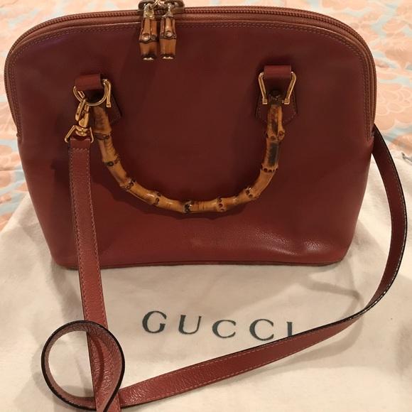 b1be61fbd26 Gucci Handbags - Vintage Tan Leather Gucci Handbag Bamboo Handles