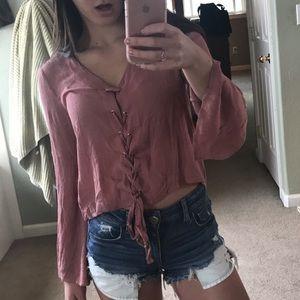 Tillys lace up blouse!