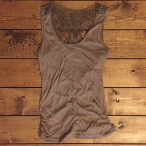 Tops - Tank top with lace open back!