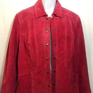 COLDWATER CREEK Red Suede Leather Jacket Shirt Top