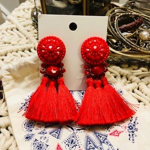 H&M Jewelry - Oversized bright red fringe earrings