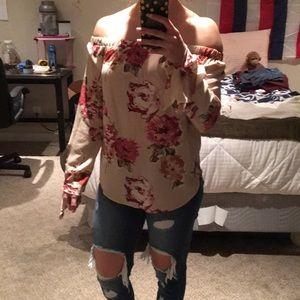 Halter floral long sleeve blouse