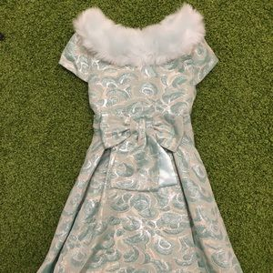 Girls Brocade Dress with Fur Collar
