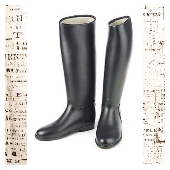 Dafna Tall Rubber Riding Boots Black