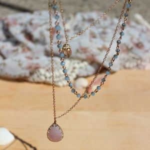 Rose Quartz & Crystal Layered Necklace