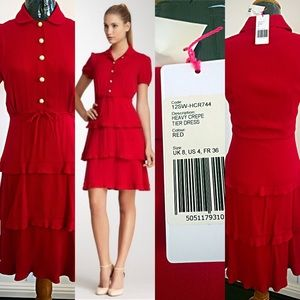 Orly Kiely Red Tier Crepe Dress