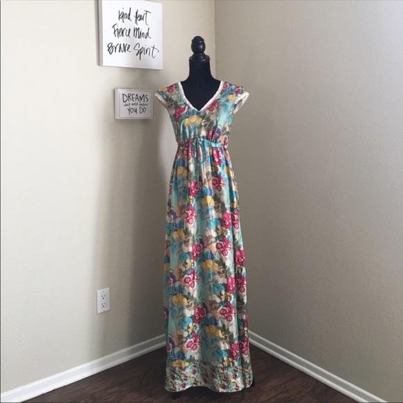 Johnny Was Dresses 100 Silk Floral Maxi Dress Lace Poshmark