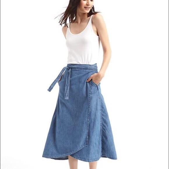 a0ca12904 GAP Skirts | Denim Wrap Skirt | Poshmark