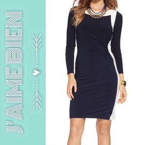 Ralph Lauren Two-Tone Ruched Jersey Dress
