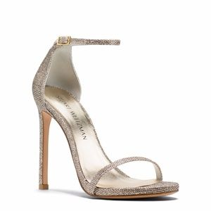 Stuart Weitzman Nudist Pale Gold Strap Stilettos