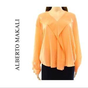 NWT Orange Fall Long Sleeve Ruffled V-Neck Blouse