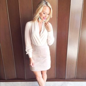 Cream colored suede skirt from revolve