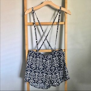 Navy blue & White Aztec print suspenders