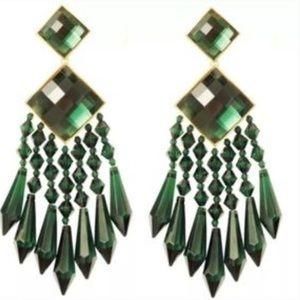 H&M X Balmain Chandelier Earrings, Green