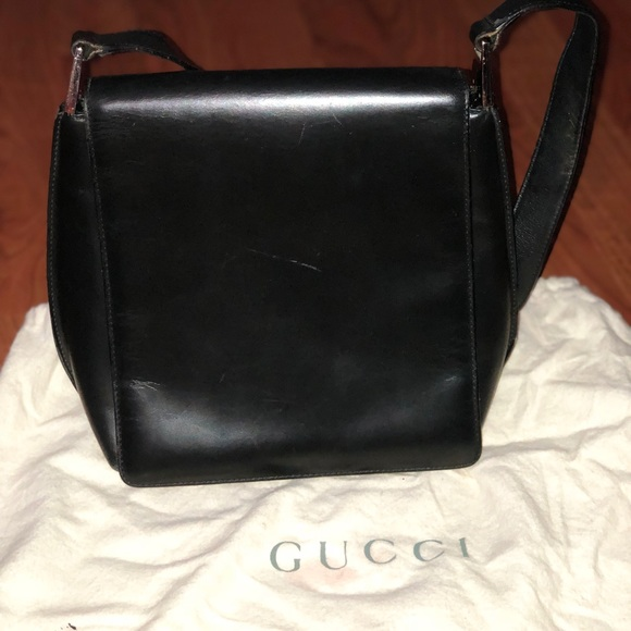 Gucci Black Vintage Leather Shoulder Bag