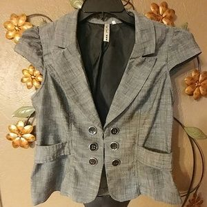 Tops - Gray Vest with Ruffles