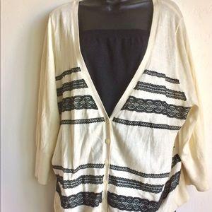 Lane Bryant Cardigan Sweater With Lace Trim Sze 2X