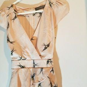 Dorothy Perkins Nude Pink Peplum Dress w/ Swallows