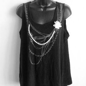 Black Tunic With White Pearl and Flower Size 18/20