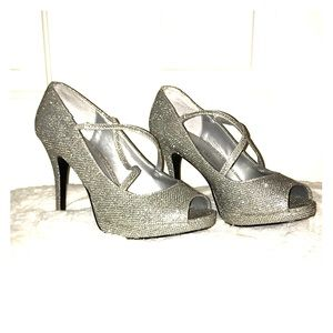 Silver Sparkly Party Heels