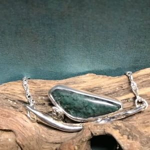 "CBL Jewelry - Green moss agate ""bird on a branch"" necklace"