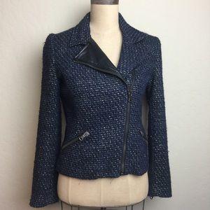 Zara navy/gold tweed moto style jacket