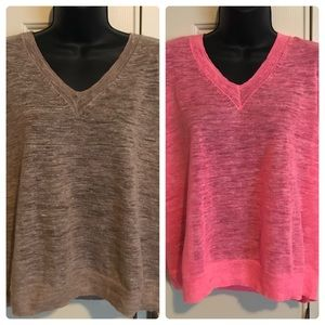 (2 for 1) J. Crew Marled Linen V-Neck Sweaters