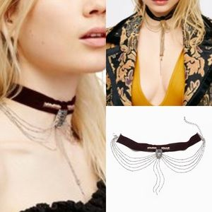 NWOT free people down and out velvet choker chain