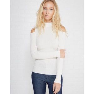 Sweaters - 'Faye' White Ribbed Cold Shoulder Sweater